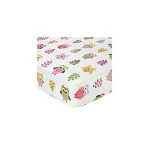 Pink Happy Owl Fitted Crib Sheet for Baby/Toddler Bedding
