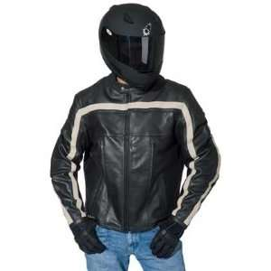 Mens Leather Motorcycle Jacket Black/Black/Ivory Small S 1052 2002