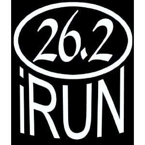 iRun 26.2 Marathon Sticker, White, Die Cut Vinyl
