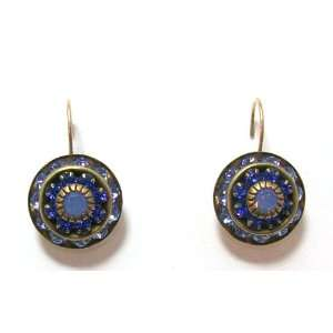 Liz Palacios 16K Gold Plated Petite Rondel Drop Earrings With Sapphire
