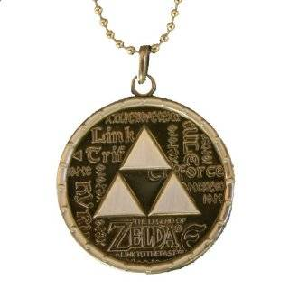 NINTENDO ZELDA TRIFORCE LOGO PEWTER MEDALLION NECKLACE