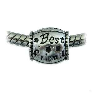 slide on Charm Bead element   silver Best Friend #15170