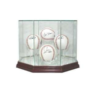 Glass Four (4) Baseball Display Case with Cherry Wood Molding (4 Ball)