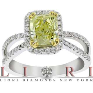 NATURAL FANCY YELLOW RADIANT CUT DIAMOND ENGAGEMENT RING 18K   FD 329