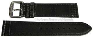 20mm Hadley Roma Carbon Fiber Black Leather Mens Watch Band Strap