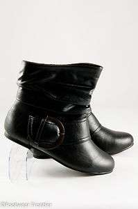 Women Fashion Faux Leather Slouch Buckle Ankle Boots P5