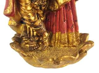 Metallic Gold Lord Krishna Hindu Statue Figure Radha
