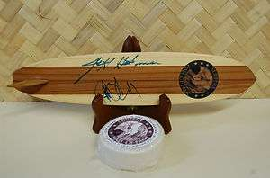 2009 Surfers Hall Fame Signed Wood Surfboard Surf Wax