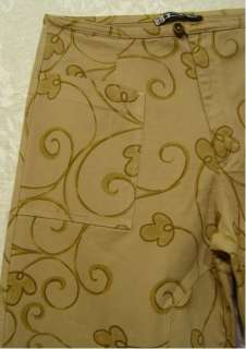 Swirly HIPPIE Flowers Wide Leg BROWN Pants 28 Waist