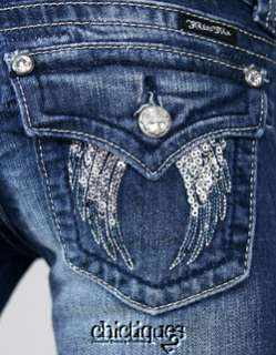 Miss Me Jeans Silver Sequin Day into Night Fallen Angel Wing Denim
