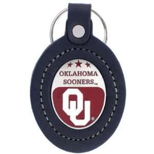 OKLAHOMA SOONERS OFFICIAL LOGO LEATHER KEYCHAIN Sports