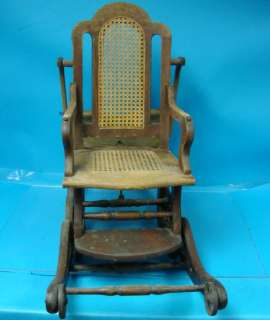 Antique Child High Chair Rocking Baby Infant Solid Wood Rocker Cane