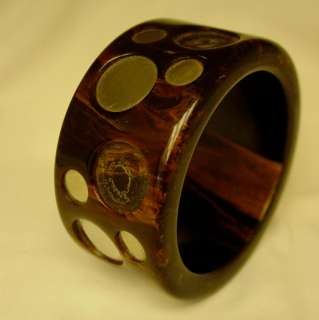 Vtg Deco Bakelite Dots Bangle Bracelet Huge Book Piece