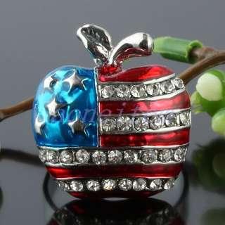 Blue Clear Austrian Crystal American Flag Apple Adjustable Finger Ring