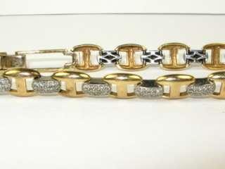 3900 HEAVY 2ctw Natural Diamond 10k 2 Tone Gold Tennis Bracelet 20g
