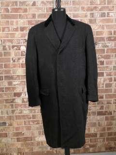 vtg 50s black wool herringbone tweed long over coat velvet collar
