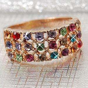 18K Rose Gold Plated Ring w/ Swarovski Crystal 11589