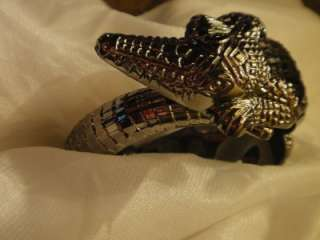 Woman Ladies Girls Alligator Crocodile Bracelet Bangle Silver Black
