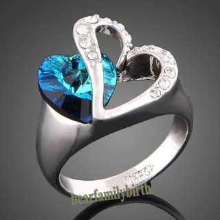 white GOLD GP Swarovski crystal heart with blue stone ring 1766