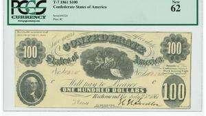 CSA T7 1861 $100 Confederate States America Ceres Proserpina Rare PCGS