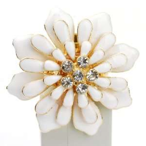 Cute Spring Summer Bulky Flower Fashion Ring in Gold and