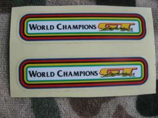 GT BMX WORLD CHAMPIONS 80S Bike Frame NOS 2 Stickers Decal Freestyle
