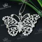 1P SILVER PLATED ALLOY BUTTERFLY CRYSTAL BEAD PENDANT