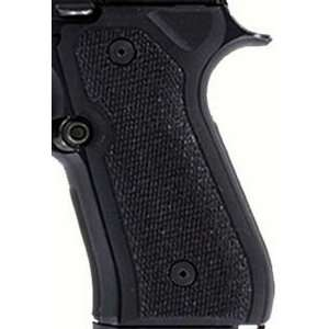 Hogue Beretta 92 Grips Checkered G 10 Solid Black Sports
