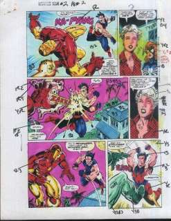 MAN v WONDER MAN ORIGINAL MARVEL COMIC BOOK COLOR GUIDE ART PAGE 2