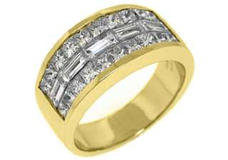 MENS 3.25 CARAT PRINCESS BAGUETTE CUT DIAMOND RING WEDDING BAND 18KT