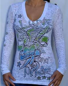 Sinful by Affliction COLINA Womans Long Sleeve T Shirt   S2209   NEW