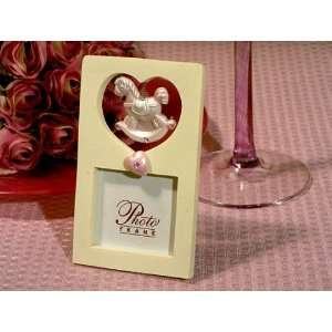 Rocking Horse Photo Frames w Pink Heart (Set of 72)   Baby