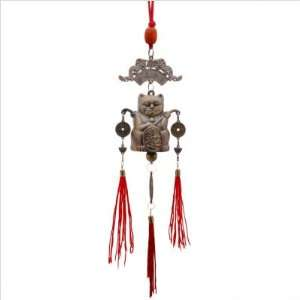 Feng Shui Bell Lucky Cat Metal Art
