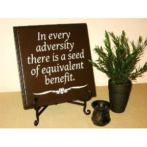 Decorative Wood Sign Plaque Wall Decor with Quote In every adversity