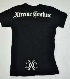 XTREME COUTURE SKULL GOTHIC TATTOO BLACK T SHIRT S