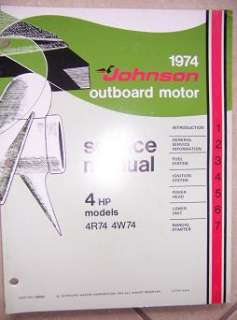 1974 Johnson Outboard Motor Service Manual 4 HP 4W74 v