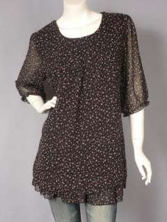 Black Chiffon Floral Print Scoop Neck Tunic Top L