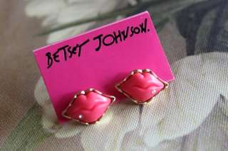 2077 Korean Fashion red lips with crystal Earrings