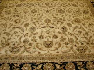 9x12 Ivory & Black Fine Plush Hand knotted Wool Persian Oriental Rug