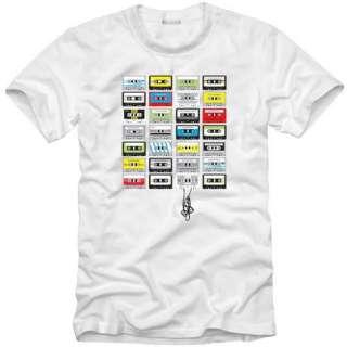 N85 Cassette Tape T shirt graphic funny men Whtie L