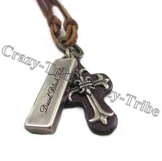 mens boys charm choker Cross Metal pendant Genuine leather necklace