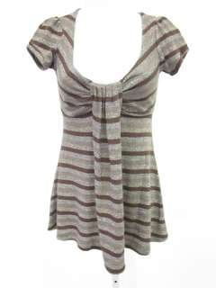 ANNA ARGIOLERA Purple Metallic Silver Stripe Shirt Sz M