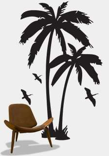 Vinyl Wall Art Decal Sticker Palm Tree & Birds 6ft Tall