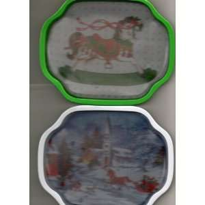 Two Christmas Metal Trays Church Scene and Rocking Horse