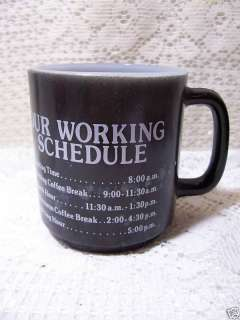 Glasbake  Our Work Schedule  Milk Glass Mug |
