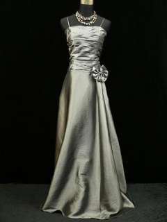 Cherlone Satin Grey Long Prom Ball Gown Wedding/Evening Dress UK Size