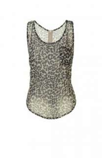 Womens Top   Chiffon Leopard Print Sleeveless Zip Back Vest Top