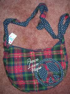 NEW JUSTICE NWT RED PLAID HANDBAG PURSE PEACE LOVE HOPE