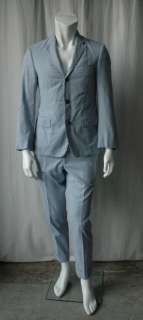 THOM BROWNE Mens Blue+White 3 Button Pin Cord Suit 38