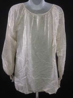 You are bidding on a DESIGNER White Gold Long Sleeves Tunic Blouse